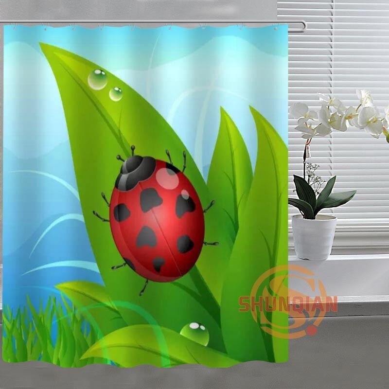 Cartoon Ladybug Custom Shower Curtain Bathroom Fabric For Bathroom Decor Bathroom Curtain Acceptable Custom H03m26q61