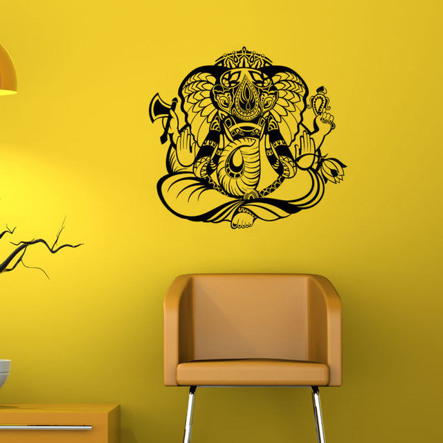 Hot Sale Ganesha Indian Pattern Wall Sticker Removable PVC Home ...