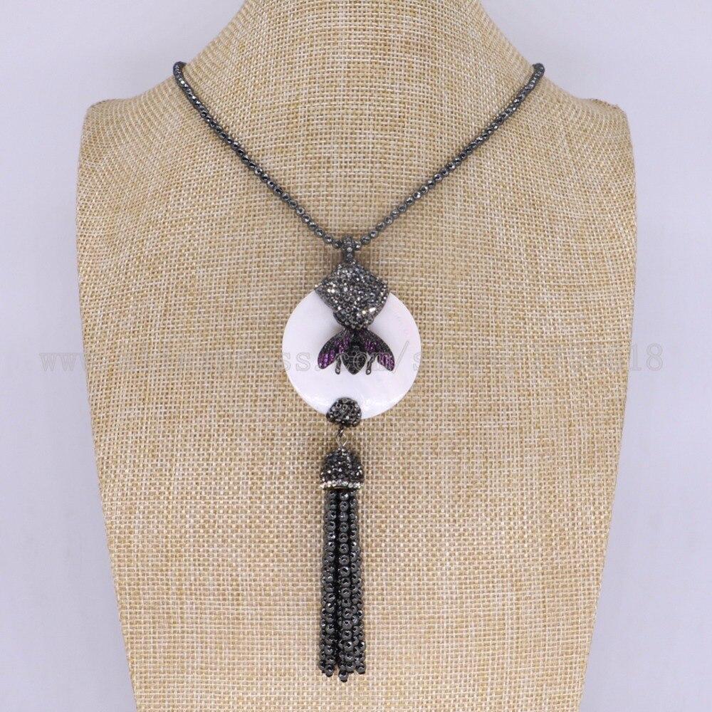 3 предмета в комплекте гематит ожерелье Природный Круглый Shell Подвески, Колье с ошибками пчелы кулон Самоцветы для женщин 3128