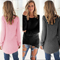 Coolbeener Womens Casual Solid Long Sleeve Jumper Sweaters Blouse dec22