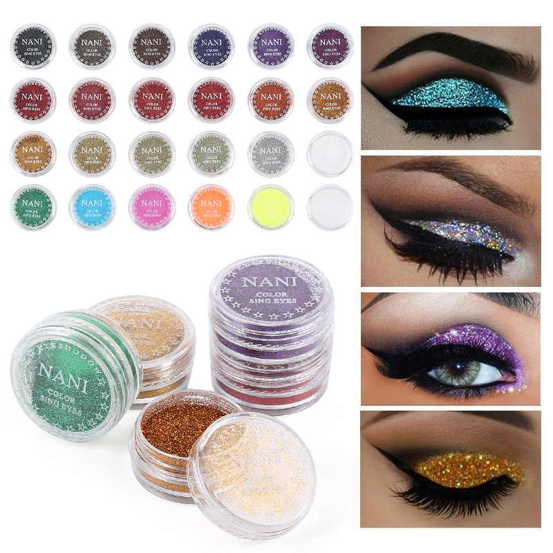 ELECOOL New and Hot Shinning Glitter Powder Eye Powder Monochrome Makeup Shadow Eye Make Up Single 24 Colors Glitter TSLM1