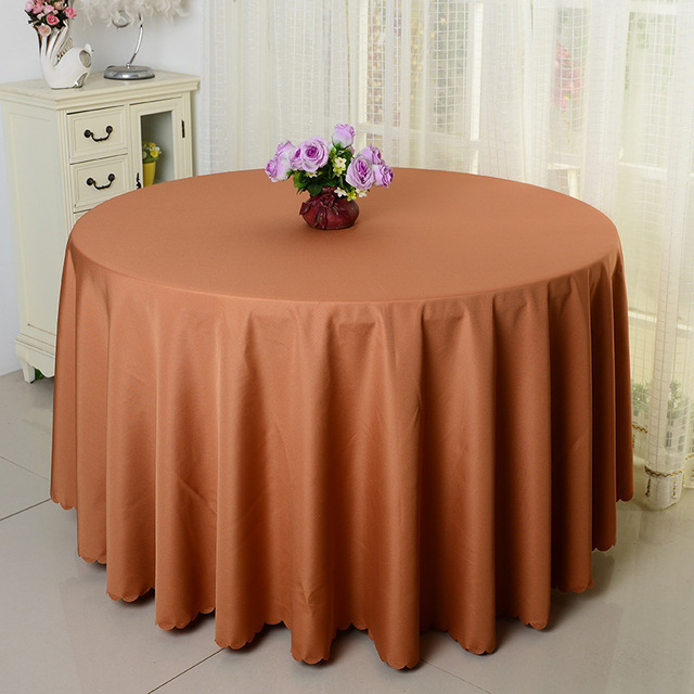 Exceptionnel 10pcs Light Brown Plain Wedding Round Polyester Table Cloths Banquet Table  Cover Linens For Party Event