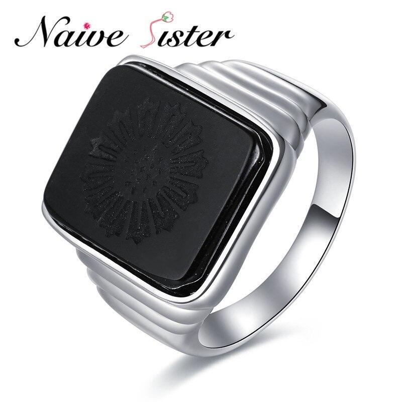 Великий Гэтсби высокое качество Для мужчин кольцо черный оникс кольцо стерлингового серебра 925 Украшения для мужчин Серебряный Цвет Шарм к...