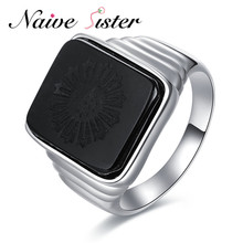 El gran Gatsby alta calidad hombres anillo negro Onyx anillo de plata 925 joyería de los hombres plata color encanto anillo para los hombres