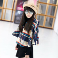 2016 Winter Children Woolen Cloth Coat 5-15 Years  Brand Clothes Kids Long Sleeve Parkas Wool Outwear Girls Grid Cloak Jacket