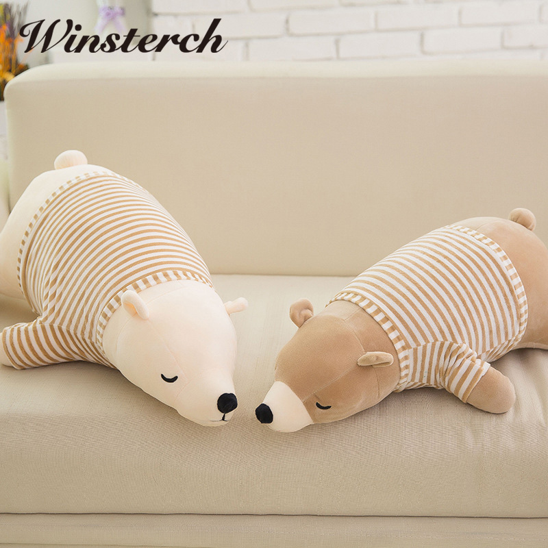 2017 New lovely Polar bear 1PC 35cm/50cm plush toy Cute bear throw pillow, baby toy ,birthday gift Stuffed Animals Dolls WW175 hot sale cute dolls 60cm oblong animals pillow panda stuffed nanoparticle elephant plush toys rabbit cushion birthday gift