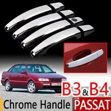 Для VW Passat B3 B4 хромированные ручки, накладки, набор из 4 шт., Volkswagen MK3 MK4, автомобильные аксессуары, наклейки для автомобиля, Стайлинг 1988 1990 1993