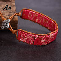 Asingeloo Leather Rope Wrape Thread Red Turquoise Stone Beads Bracelet Jewelry Bohemia Tube Vintage Jewelry Cuff Bracelets