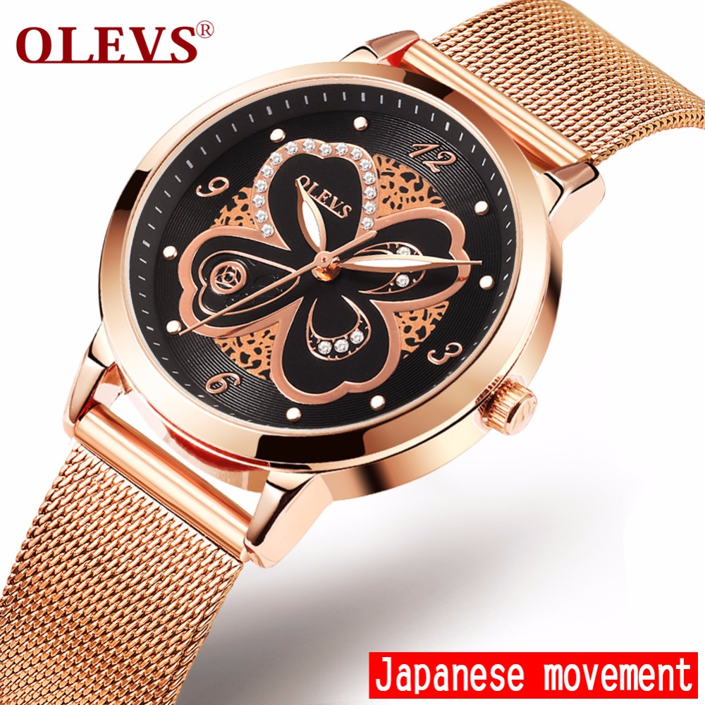Luxury OLEVS brand Women watches Rose Gold Steel Fashion Rhinestone Ladies watches waterproof Clock Wrist watch relogio feminino
