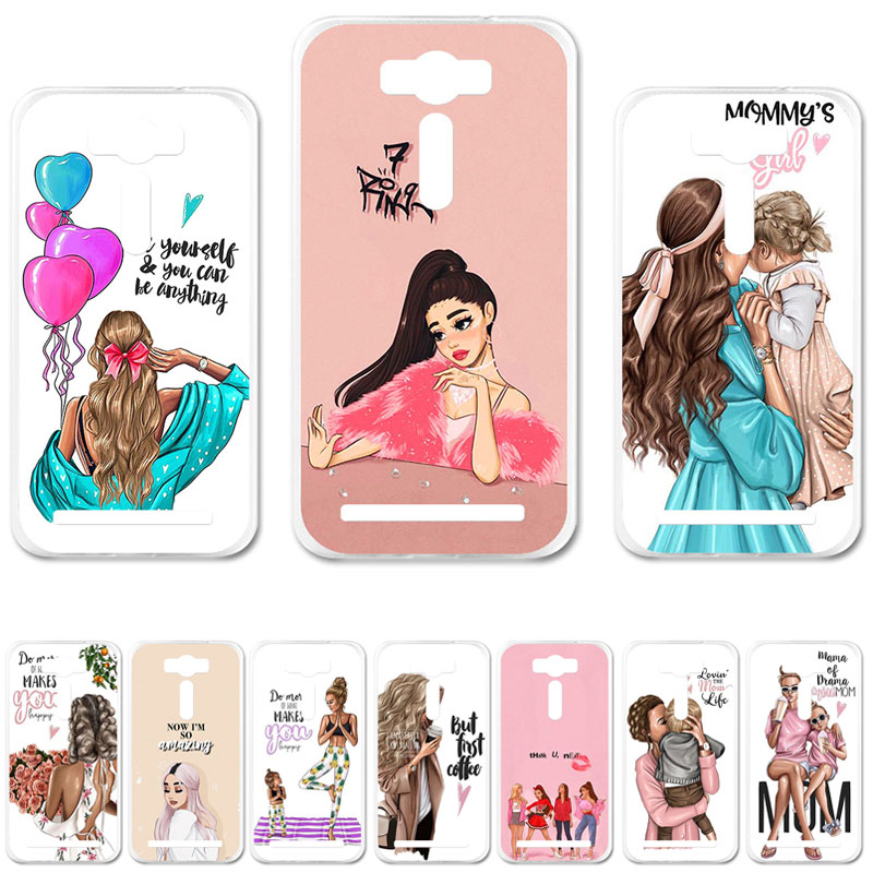 Fashion Black Brown Hair Baby Mom Girl Silicone Case For <font><b>Asus</b></font> Zenfone 2 Laser ZE500KL Cover Zenfone2 Laser ZE500KG <font><b>Z00ED</b></font> image