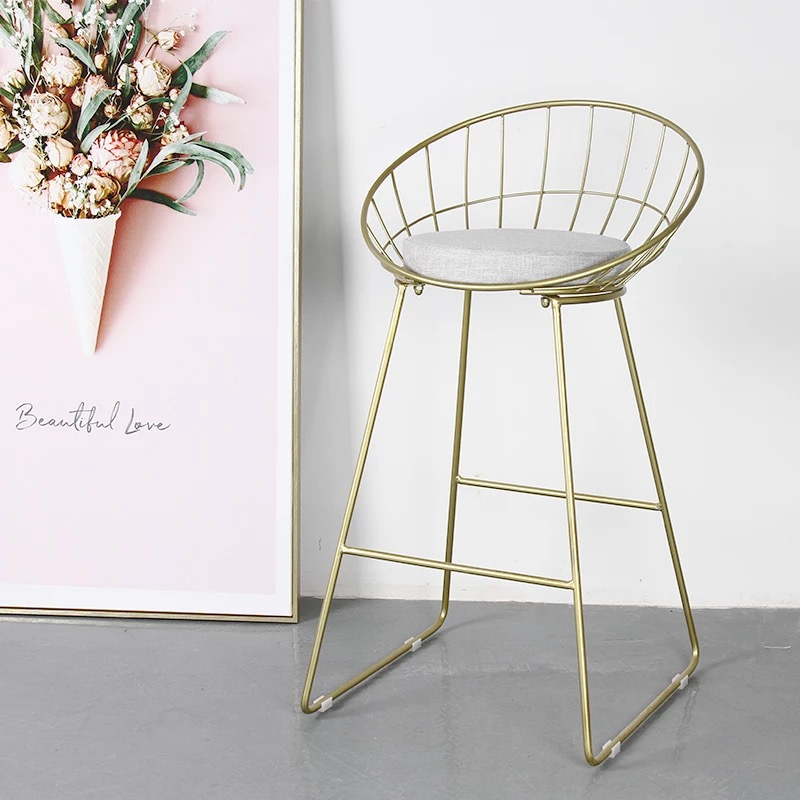Nordic round bar chair Iron modern minimalist back ins net red high stools home high chair bar stool wooden round high bar stools home bar chairs coffee mobile phone stool bar stools