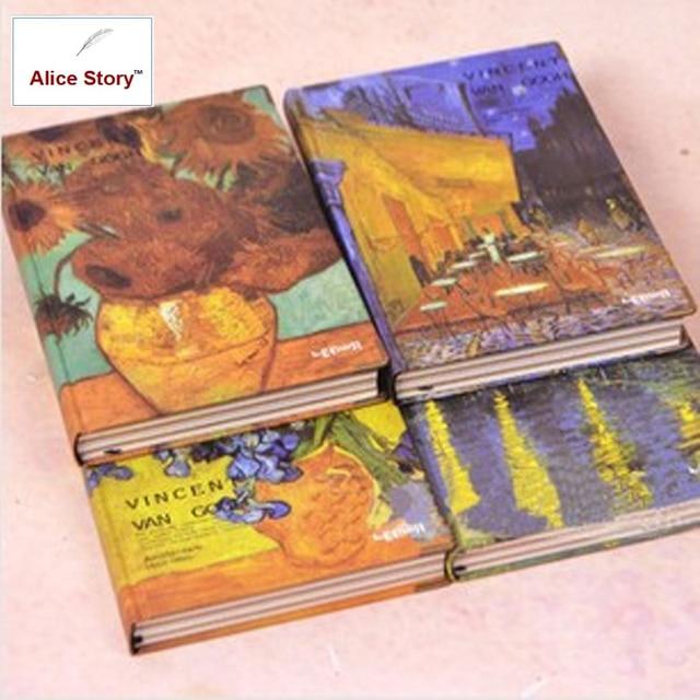 Quadro de pintura à cor vintage van gogh, capa dura para diário, livro 19cm x 13cm