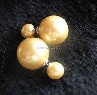 Одна пара желтый Морская жемчужина круглые серьги бисер оптом дар природы модная коллекция 2016 года Горячие 8 мм 16 мм fppj