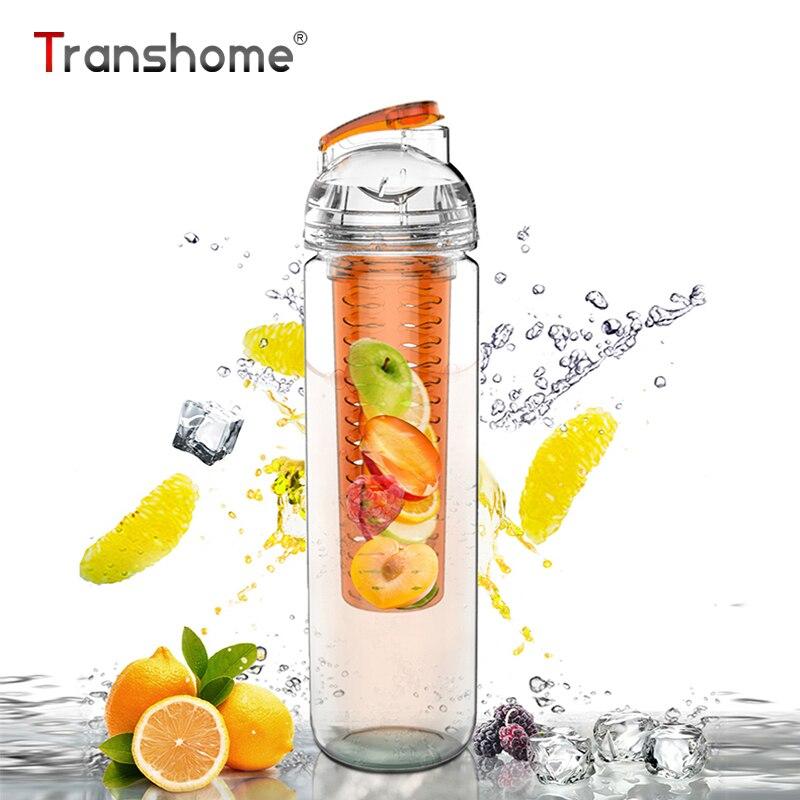Transhome Lemon Juice Bottle 700ml New Fashion Fruit Infuser Make Fresh Lemon Strawberry Orange Juice Lemonade Bottle For Sports