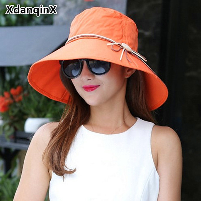 Xdanqinx Hat Lady Spring Summer Wood Buckle Decoration Foldable Beach Hats For Women Large Sun Visor