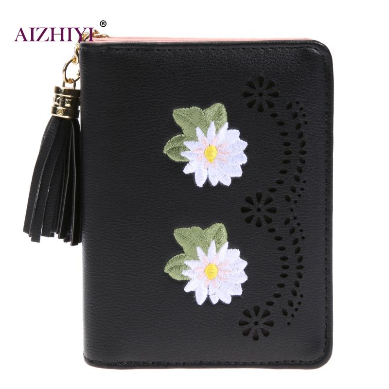 Women Short Wallet Floral Embroidery Coin Purses Girls Zipper Coin Wallets Tassel Coin Purse Fashion PU Leather Short Wallets
