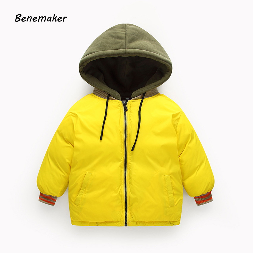 Benemaker Children Winter Hooded Bomber Jackets Girls Boys 3-10Y Clothing Cotton-padded Coats Overalls Baby Kids Outerwear YJ022