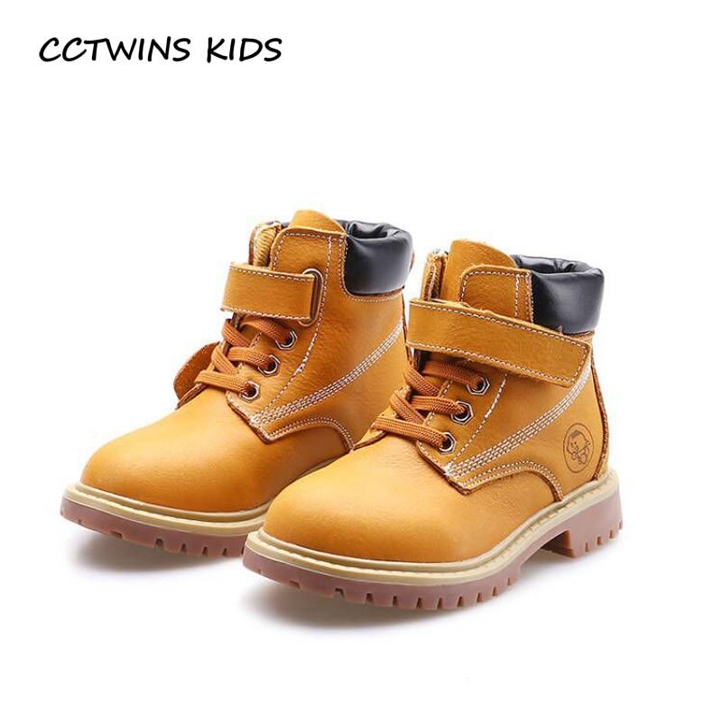 CCTWINS KIDS 2017 Children Fashion Kid Boy Warm Fur Baby Girl Brown Martin Boot Genuine Leather Toddler Brand Boot C1204