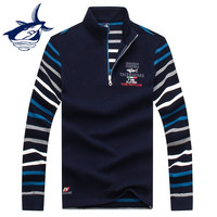 New Smart Casual Stand Collar Sweater Men Brand Tace & Shark Turtleneck Striped Men's Sweater Embroidery Zipper Pullover Men