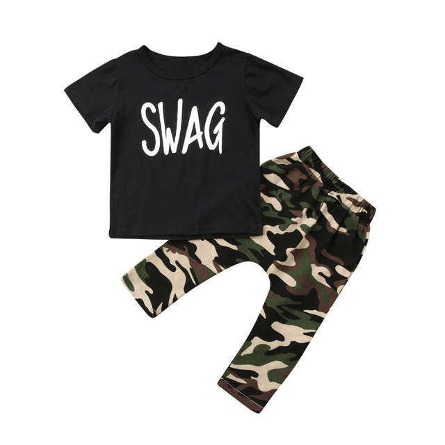 a26aae5a7a7 Pudcoco Baby Boys Girls Fashion Clothes Set Black Letter SWAG Tops T-shirt+  Camouflage Style. placeholder ...