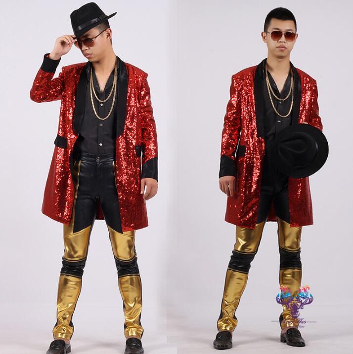 Gepersonaliseerde medium lange trenchcoat mannen overjas splice mens pailletten kleding casaco masculino zanger dans stadium stijl dress