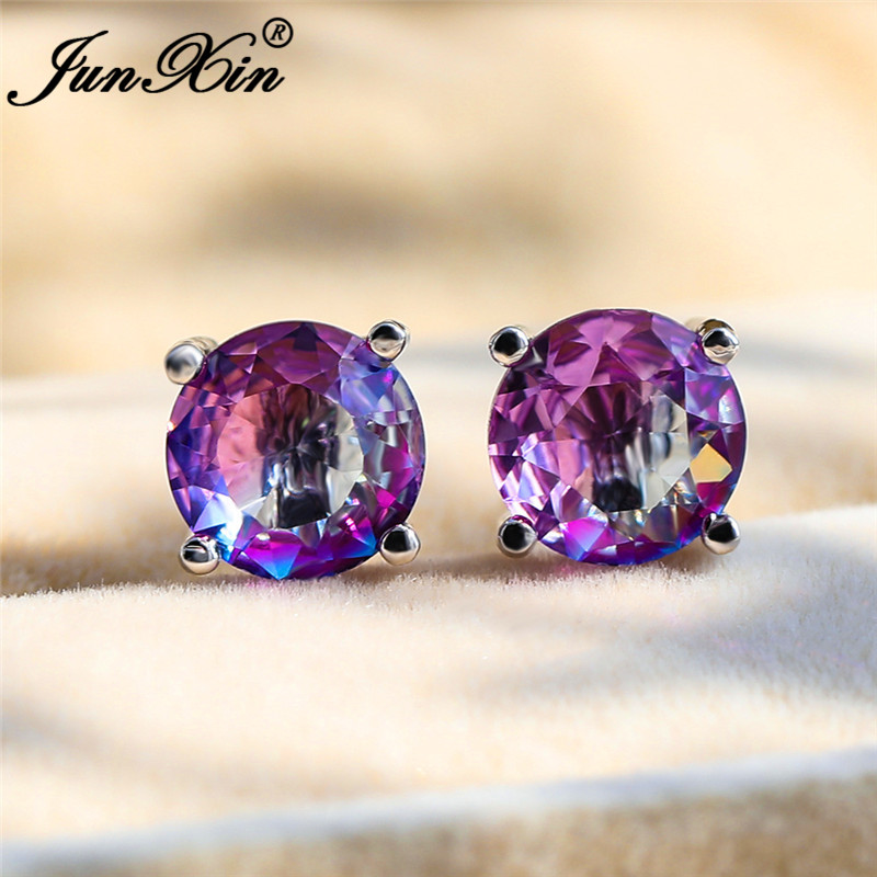 Mystical Crystal Round Stud Earrings For Women Silver Color Purple Yellow Pink Zircon Stone Rainbow Earrings Wedding Jewelry