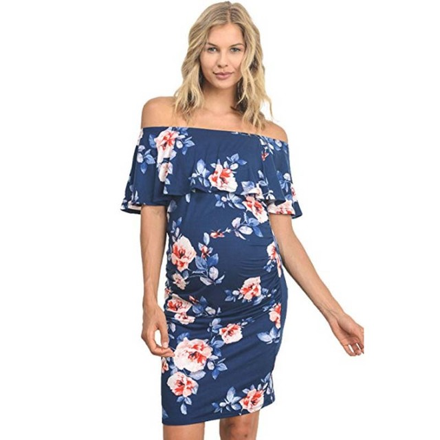 a6001b211afd0 US $11.95 40% OFF|Backless Off Shoulder Ruffle Maternity Dress For Pregnant  Women Clothes Floral Printed Vestidos Pregnancy Clothing Gravidas-in ...