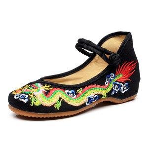 Image 3 - Veowalk Handgemaakte Vrouwen Katoen Ballet Flats Chinese Draak Borduurwerk Dames Oude Beijing Schoenen Casual Ademend Rijden Schoenen