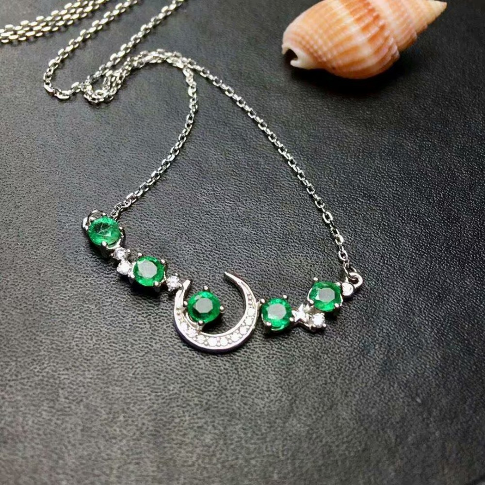 SHILOVEM 925 sterling silver Emerald pendants classic fine Jewelry send necklace wedding gift wholesale 4*4mm new mlp040481agml