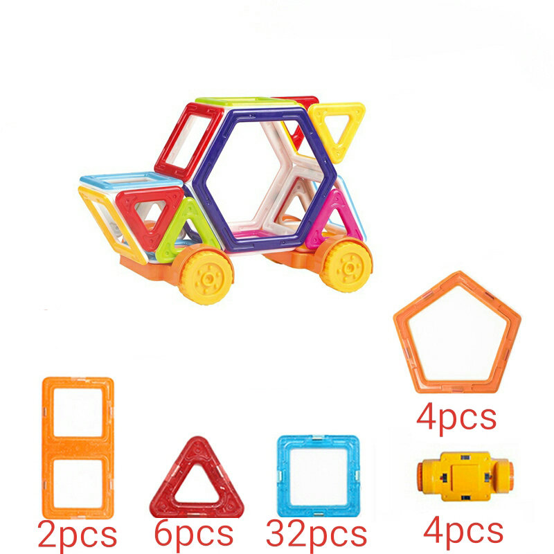 StZhou 49Pcs Big Size Magic Building Block Magnetic Toy Truck Educational Game Construction Stacking Sets Brick Toys For Kids