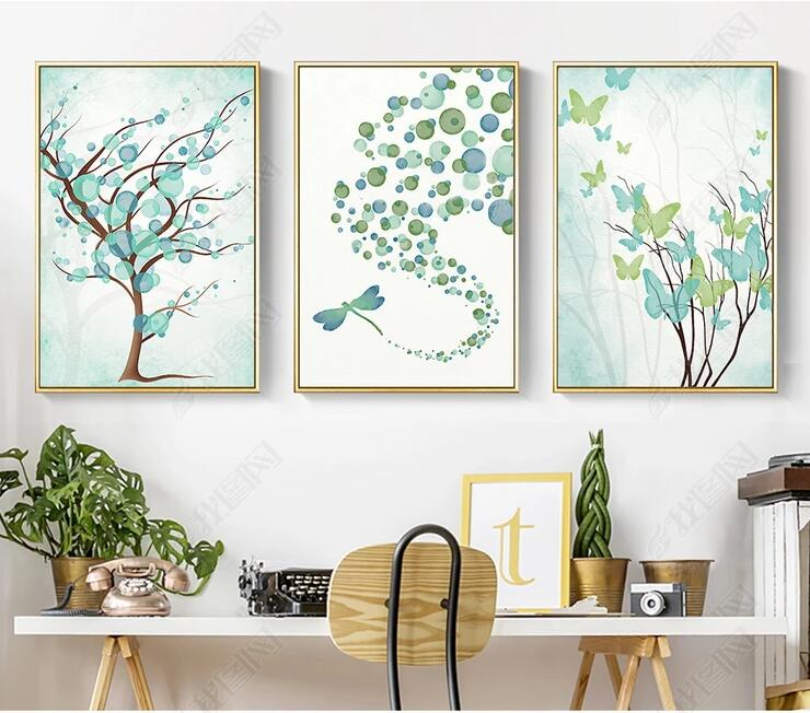 Butterfly Home Decor: Green Plants Painting Cute Butterfly Dragonfly Living Room