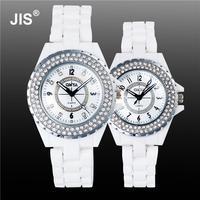 Luxury Pretty White Crystal Rhinestone Ceramic Japanese Movt Quartz Wristwatches Wrist Watch For Women Men Couple