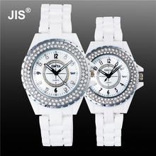 Роскошные Довольно Белый Кристалл Rhinestone Керамика японский movt Кварцевые наручные часы для Для женщин Для мужчин пара