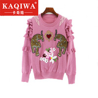 2018 Autumn Winter Animal Embroidery Knitted Sweaters Pullovers Women Runway Design Ruffle Elegant Top Clothes Lady Jumper S L