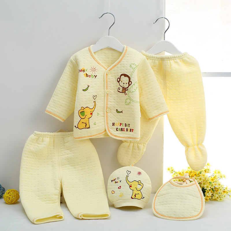 Newborn infant Fashion Cotton baby clothing boy Girls Clothes Sets (Tops+Hat+Pants)5Pcs/set roupas bebes babies underwear newborn 0 3 months baby boy girl 5 pcs clothing set cotton cartoon monk tops pants bib hats infant clothes