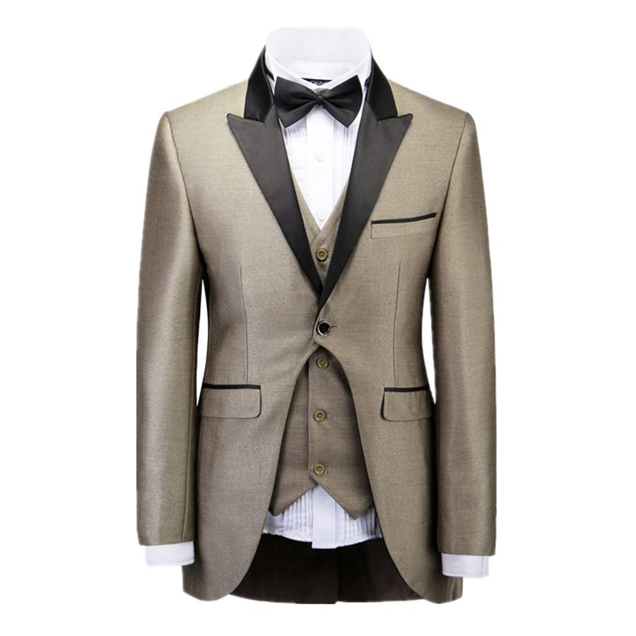 Champagne Men Suits Groomsmen Swallow Tail Back Vent Peaked Satin ...