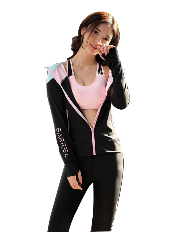 Free shipping  Women Yoga Sport Suit 3 Piece Female Zipper Long Sleeve Hoodies Fitness Clothes Running Suits 4FYG1045 colorvalue winter double zipper running jacket women hooded fitness coat long sleeve sport yoga coat with pocket and thumb holes
