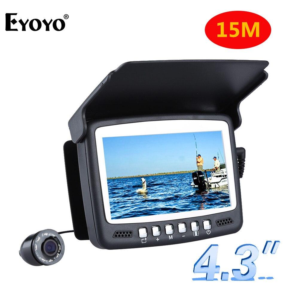 Eyoyo Original 15 M 1m 000tvl buscador de peces subacuático cámara de pesca de hielo 4,3 LCD Monitor 8 unids LED cámara de visión nocturna para pesca