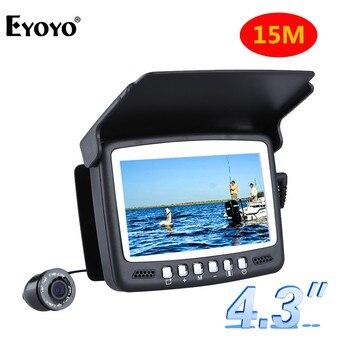 """Eyoyo original 15 m 1000tvl peixe finder subaquática câmera de pesca no gelo 4.3 """"monitor lcd 8 pçs led câmera de visão noturna para a pesca"""