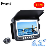 """Spor ve Eğlence'ten Balık Bulucular'de Eyoyo orijinal 15M 1000TVL balık bulucu sualtı buz balıkçılık kamera 4.3 """"lcd monitör 8 adet LED gece görüş kamera balıkçılık için"""
