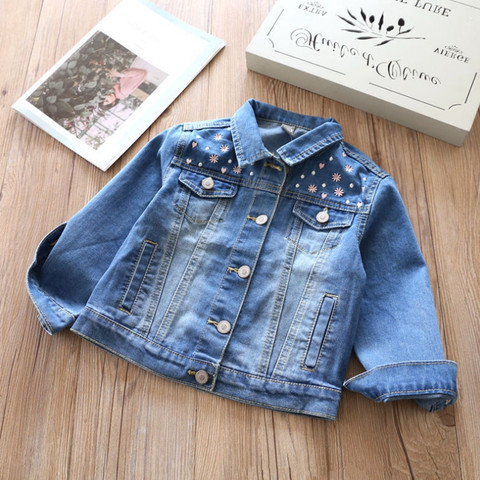 2018 Spring New Arrival Baby Girls Fashion Denim Jacket Kids Flower-embroidery Denim Outerwear Jacket Coat Child Cotton Jacket Pakistan