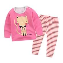 Детское нижнее белье для мальчиков и девочек, хлопковая одежда с рисунками животных, блузка с длинными рукавами, топы, брюки, 2 предмета, детские мягкие подштанники