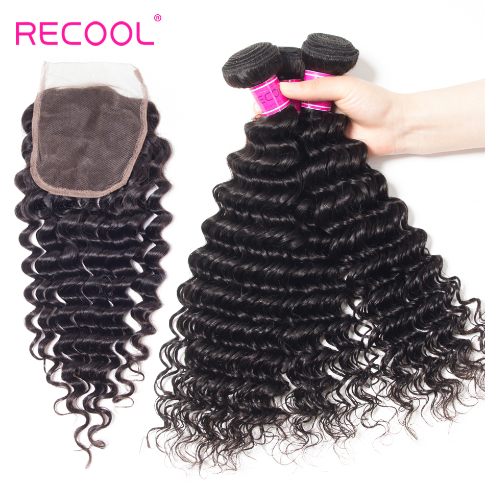 Home Smart Recool Hair Peruvian Deep Wave 4 Bundles With Closure Nature Color Human Hair Bundles With 4*4 Lace Closure 5pcs/lot Remy Hair Nourishing Blood And Adjusting Spirit
