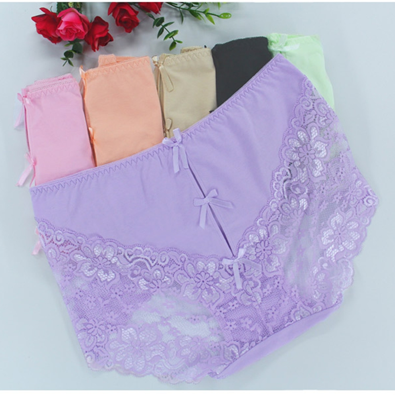 High Quality Sexy Lace Women   Panties   Hollow Out Bow Underwear Brief Plus Size 6XL Big Size   Panties   Lingeries Intimates