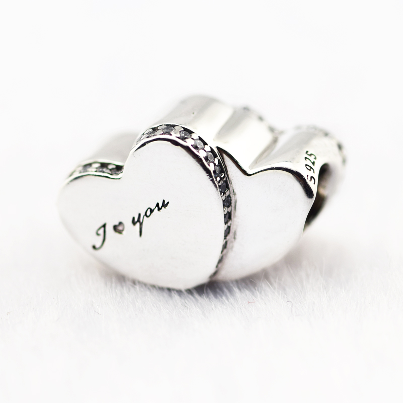 Two Hearts Dependent on Each Other Charm Authentic 925 Sterling Silver Jewelry Charm Fits Women Making Bracelets DIY Gift