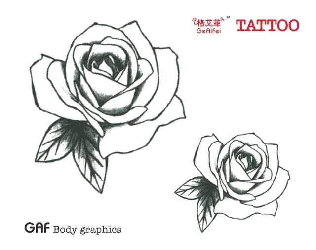Tattoo Stickers Rose Tattoo Small Fresh Black And White Waterproof