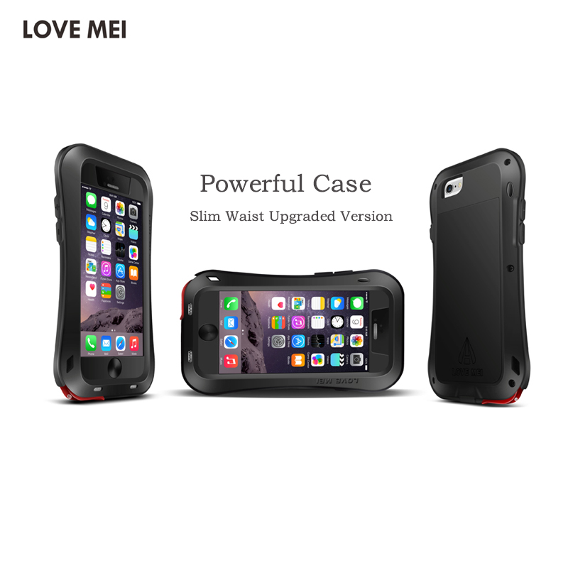 Love Mei For iPhone 7 8 Case Luxury Aluminum frame Soft Silicone Armor Back Protective Phone