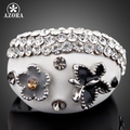 AZORA Platinum Plated Stellux Austrian Crystal Butterfly and Flower Design Ring TR0068