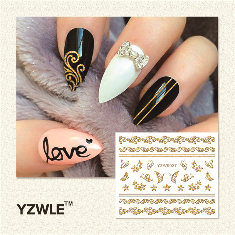 YZWLE 1 Sheet  Hot Gold 3D Nail Art Stickers DIY Nail Decorations Decals Foils Wraps Manicure Styling Tools (YZW-6027) yzwle 1 sheet hot gold 3d nail art stickers diy nail decorations decals foils wraps manicure styling tools yzw 6018