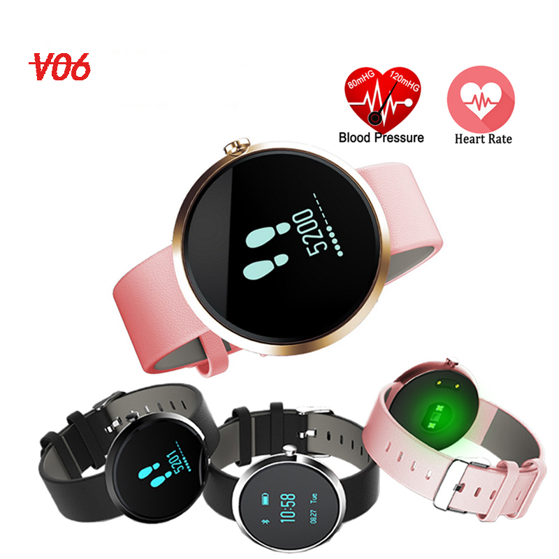 Blood Pressure Smart Bracelet Sport Health Band V06 Heart Rate Alcohol Allergy Fitness Waterproof Smart Watch for Men and Women cute love heart hollow out bracelet watch for women